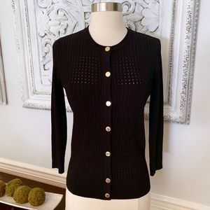Karl Lagerfeld Black Cardigan Gold Buttons